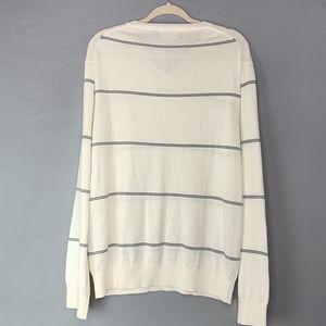 Nautica Sweaters - Nautica White with Stripes V Neck Sweater